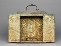 Lotus Throne For A Seated Buddha From The Interior Of A Portable Buddhist Shrine With Repoussé Decoration