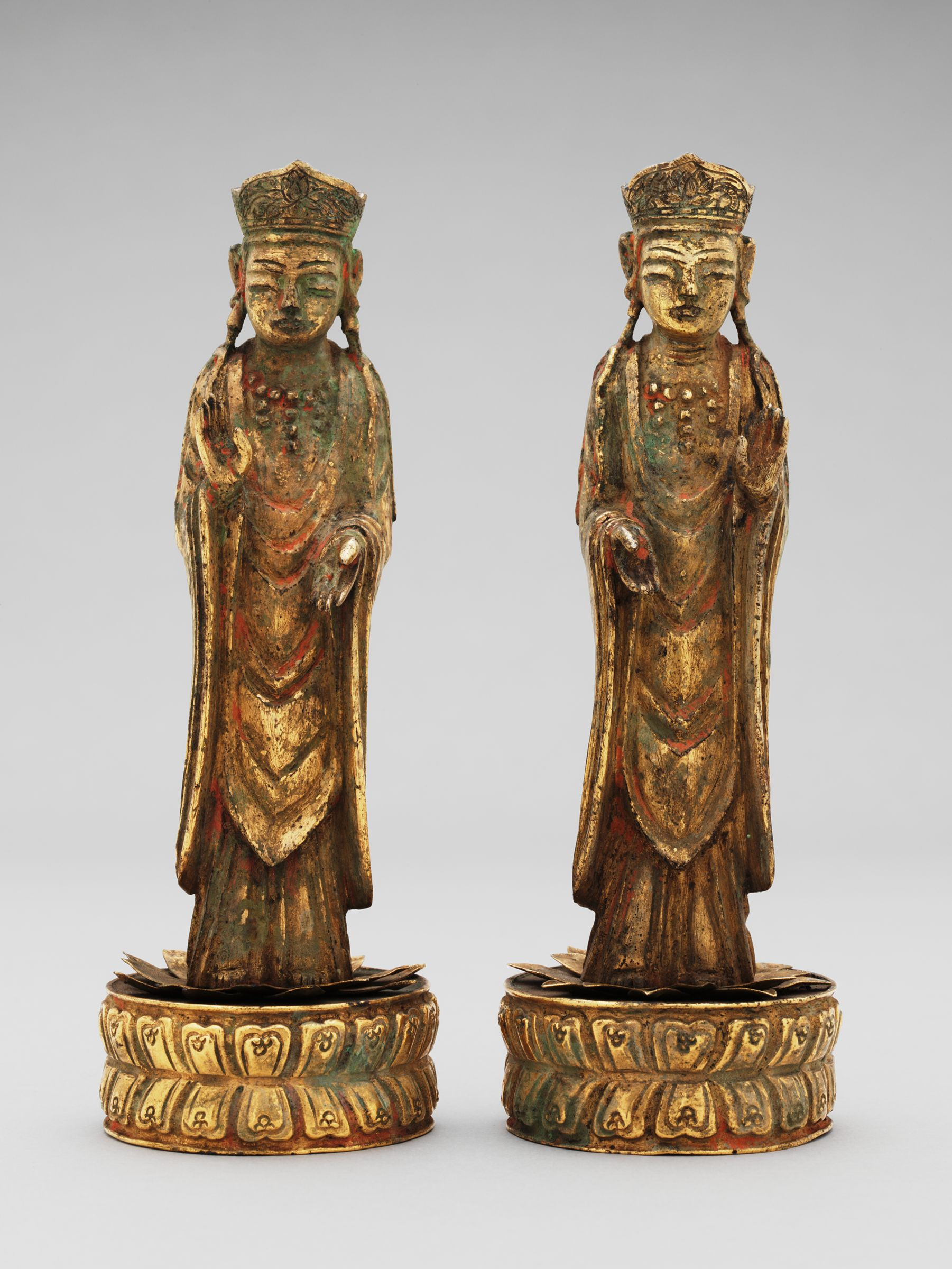 Standing Bodhisattva On A Circular Lotus Base (One Of A Pair) From The Interior Of A Portable Buddhist Shrine With Repoussé Decoration
