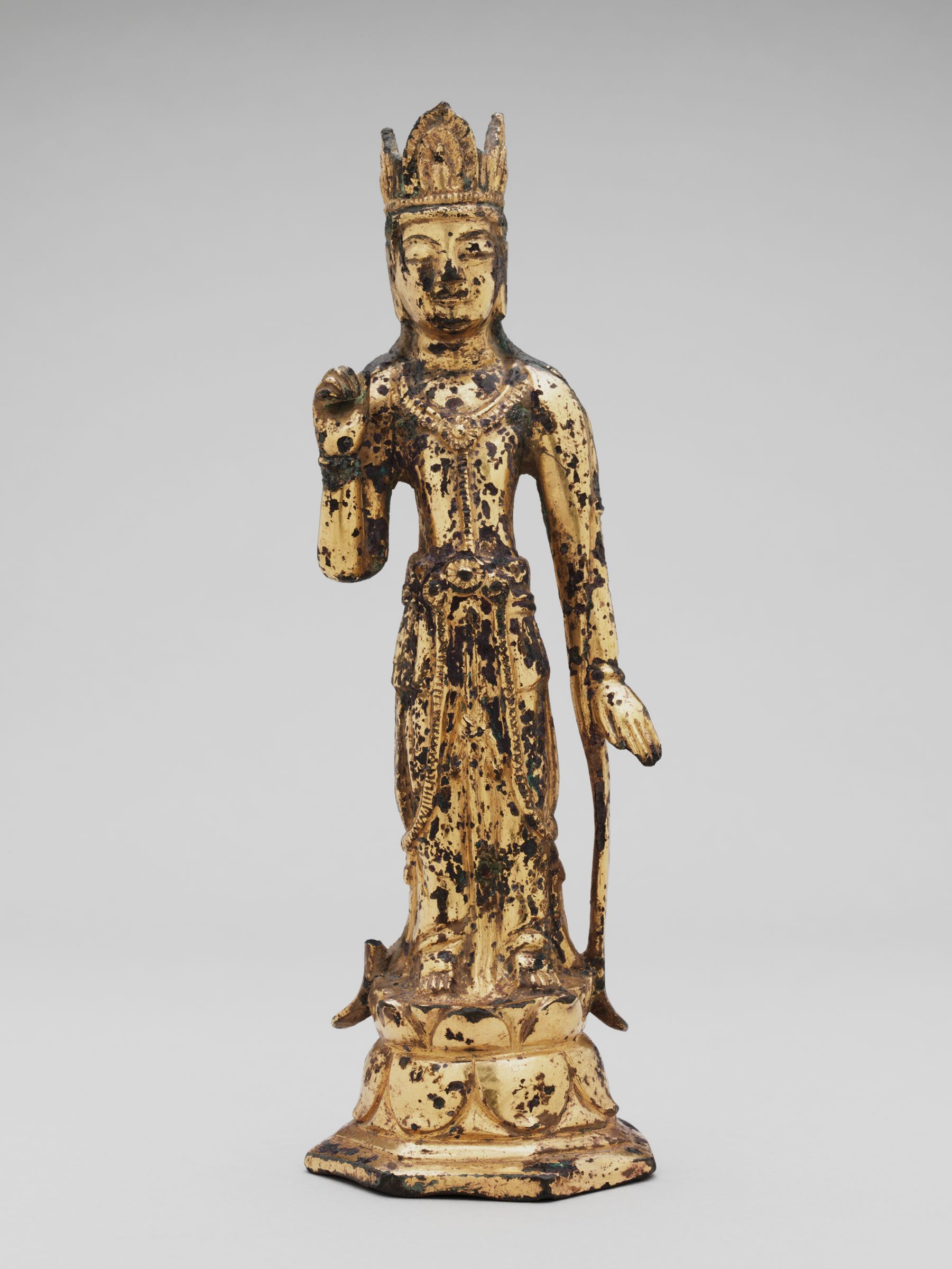 Crowned Bodhisattva, Probably Taeseji Posal (Bodhisattva Mahasthamaprapta), Standing On A Heptagonal, Double-Lotus Base, The Bodhisattva's Right Hand Raised, The Left Hand Lowered