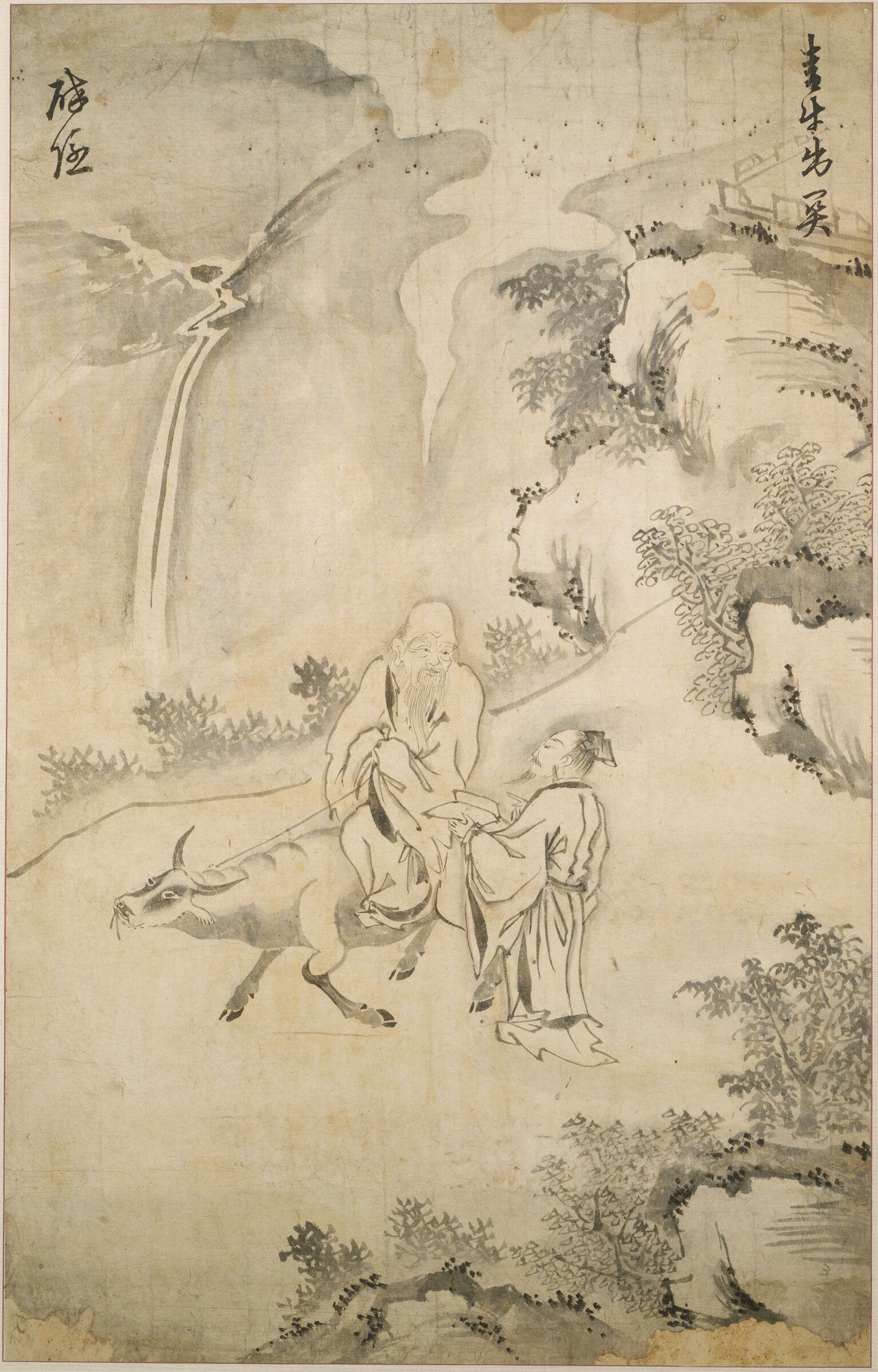 Laozi (C. 571-477 Bc) Riding Through The Pass On A Black Ox