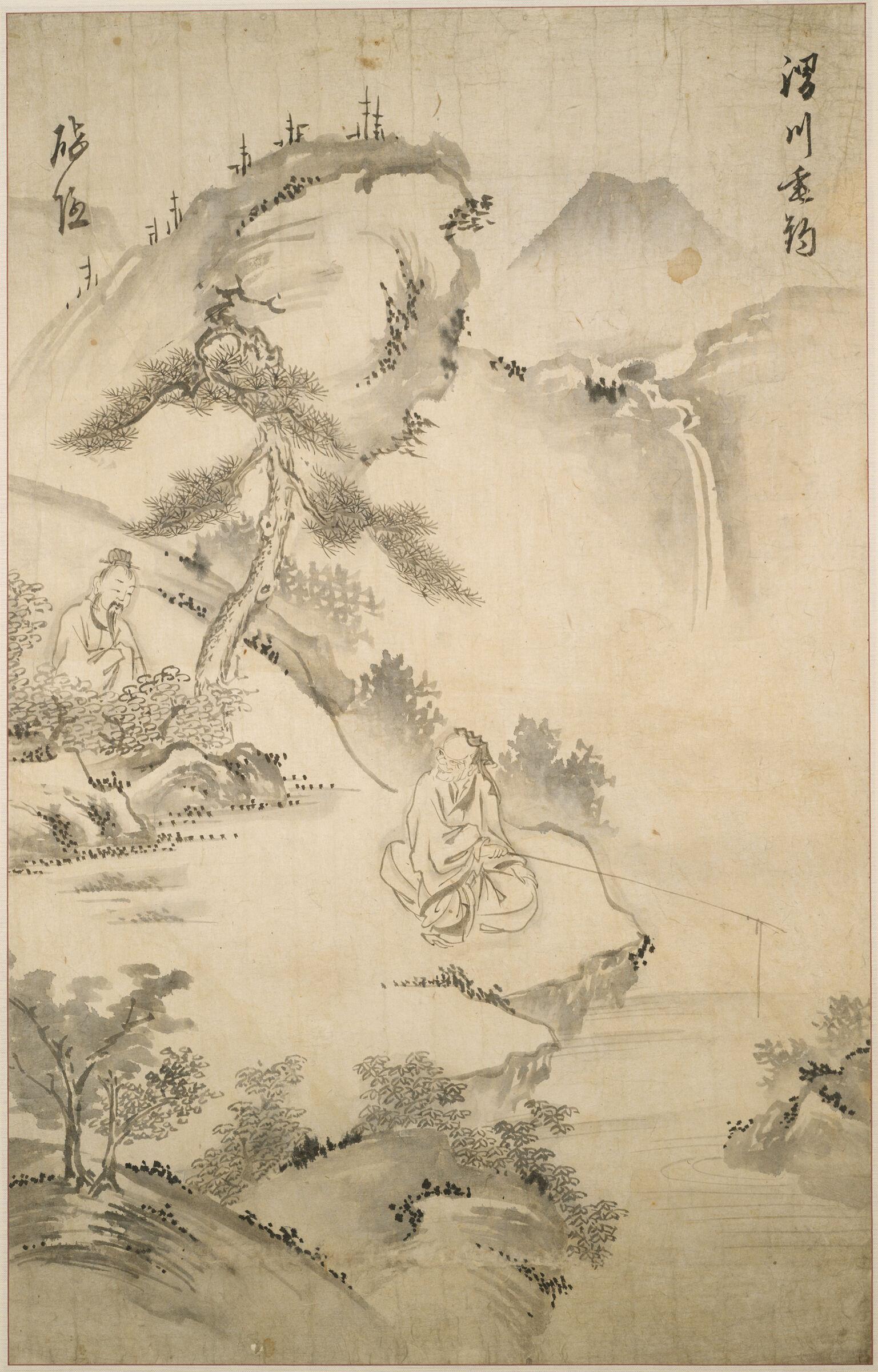 The Sage Jiang Ziya (10Th Century Bc) Fishing In The Wei River, Approached By Wen Wang The Ruler Of Zhou