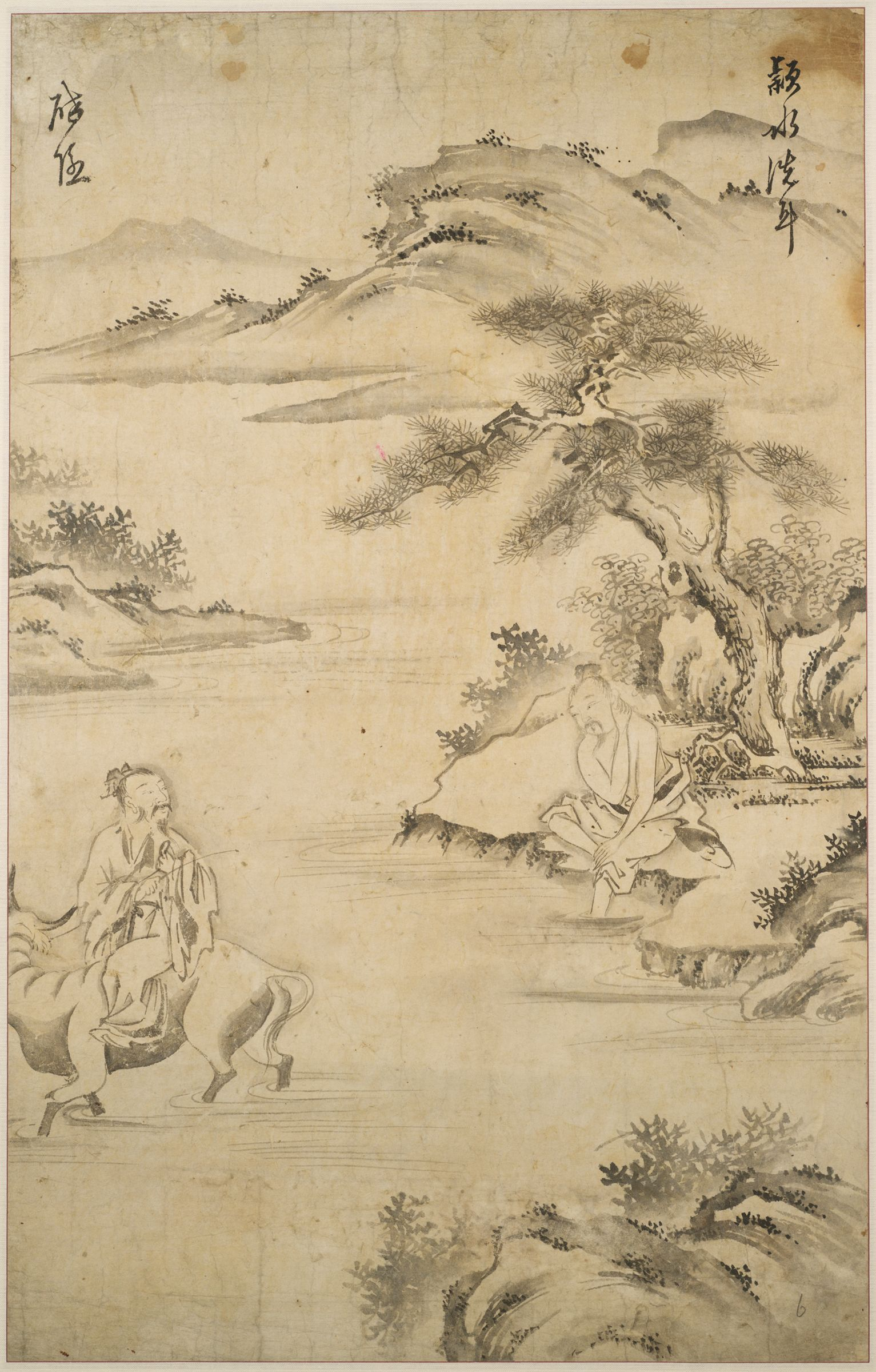 Former Counsellor Xu You Washing His Ears In The Ying River As The Sage Chao Fu Leads His Ox Away