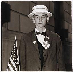 Patriotic Boy With Straw Hat, Buttons, And Flag, Waiting To March In A Pro-War Parade, Nyc 1967