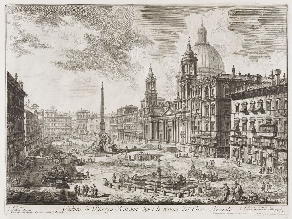 View Of The Piazza Navona Above The Ruins Of The Circo Agonale