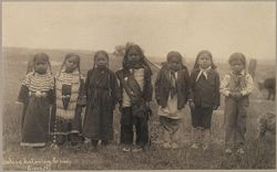 """Races, Indians: United States. Virginia. Hampton. Hampton Normal and Industrial School: Before Entering School, Sioux: """"Seven little Indians in four different stages of civilization"""".   Social Museum Collection"""
