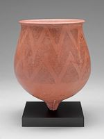 Deep, Pear-Shaped Bowl With Pointed Base And Thickened, Lightly Flaring Lip And With Chevron Decor