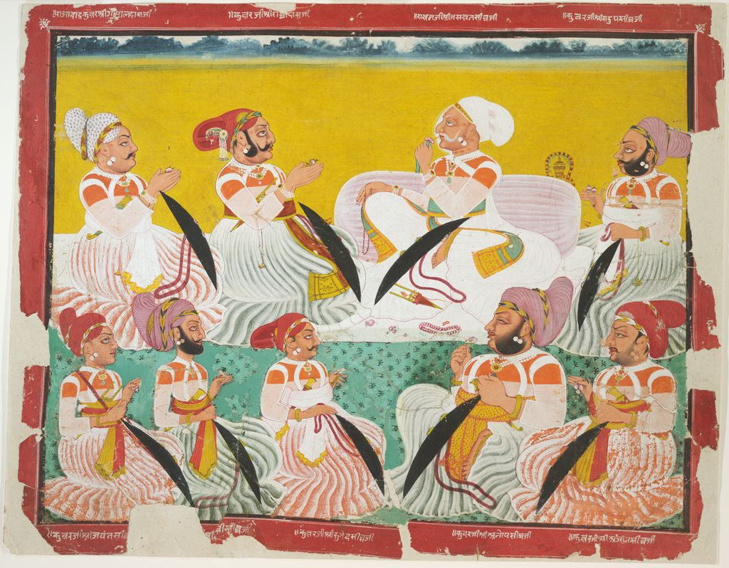 Miniature Bagta painting of noble in the court of Rawat Jaswant Singh of Devgarh