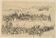 Two Lines of Soldiers on Horseback