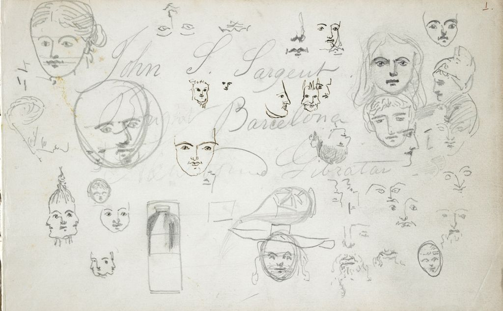 Sketches Of Heads; Verso: Landscape
