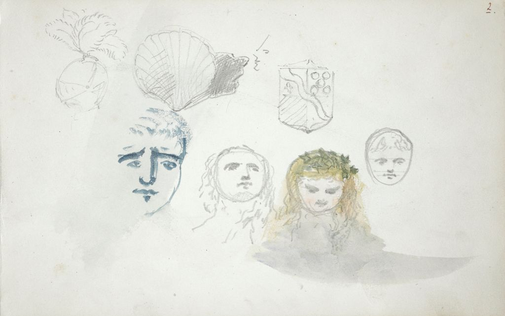 Sketches Of Heads And Escutcheons; Verso: Landscape With Sketch Of King's Head