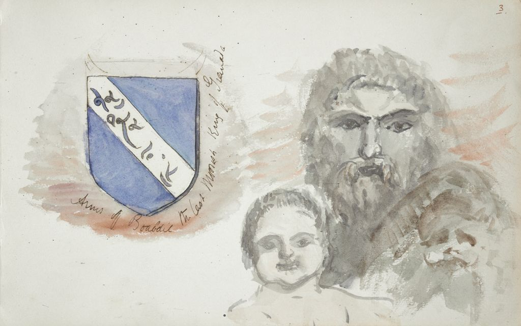 Sketches Of Heads And Coat Of Arms