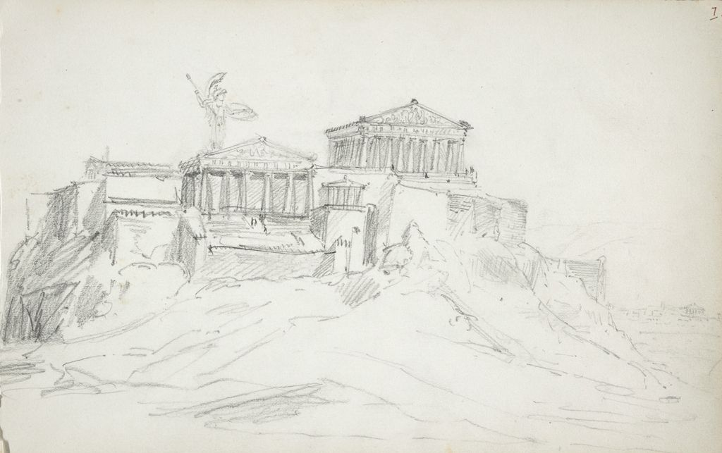Sketch Of The Acropolis; Verso: Sketches Of Heads