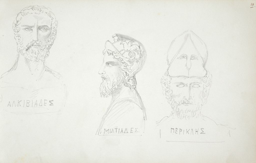 Busts Of Alcibiades, Miltiades, And Pericles, After The Antique