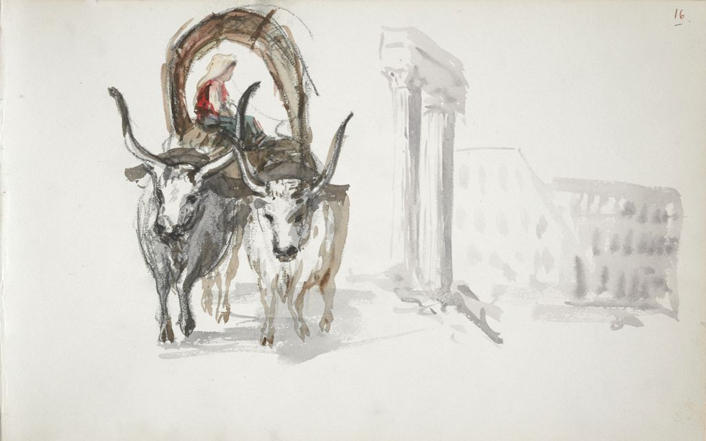 Oxcart; Sketch Of The Coliseum