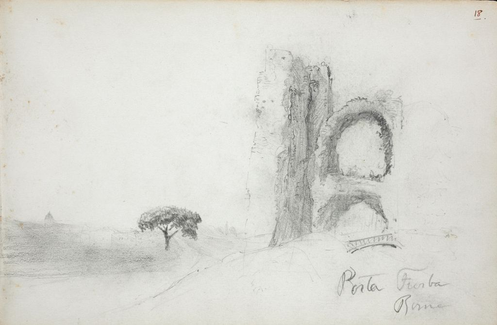 Landscape With Gate, Porta Furba, Rome; Verso: Masks Of Comedy And Tragedy