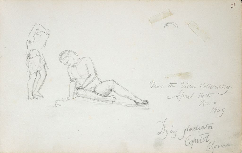 Dying Gladiator, After The Antique; Two Sketches Of Antinous, After The Antique