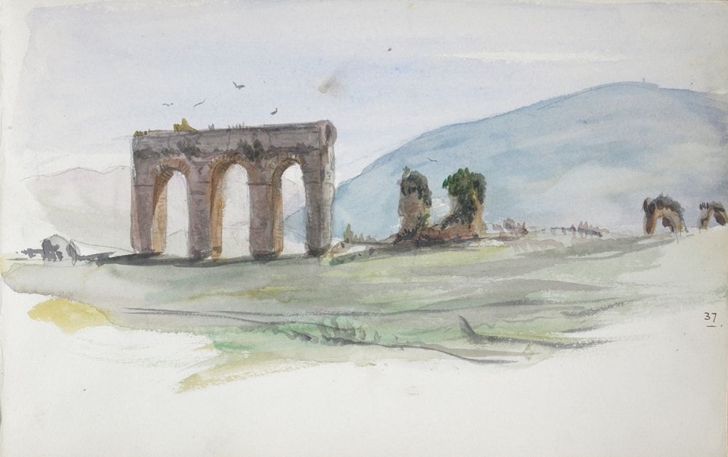 Aqueduct In A Landscape, Italy; Verso: Study Of A Head