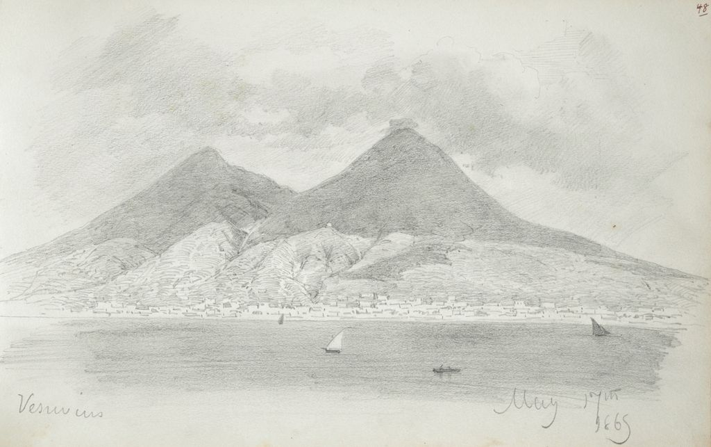 Mount Vesuvius; Verso: Victory And Cupid With Dolphin, After The Antique