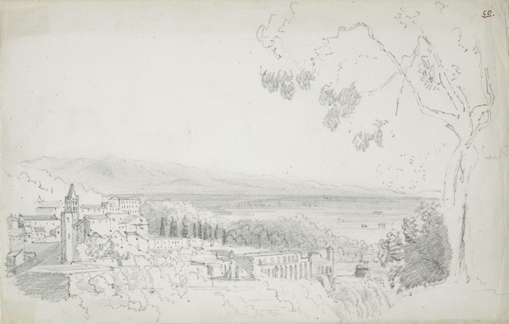 Landscape Overlooking A City; Verso: Study Of Trees