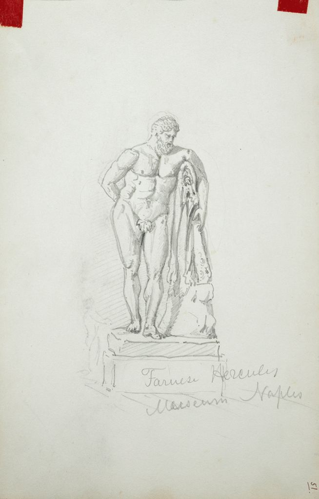 Farnese Hercules, After The Antique; Verso: Study Of Antique Sculpture; Head