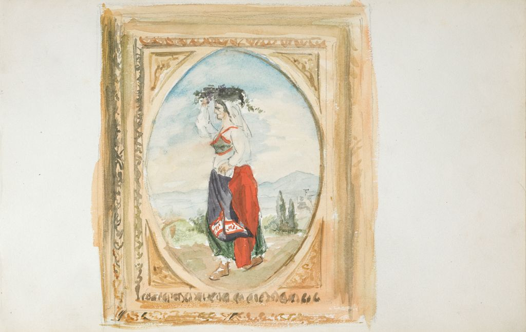 Blank Page; Verso: Sketch Of A Woman In Native Dress, After A Framed Painting