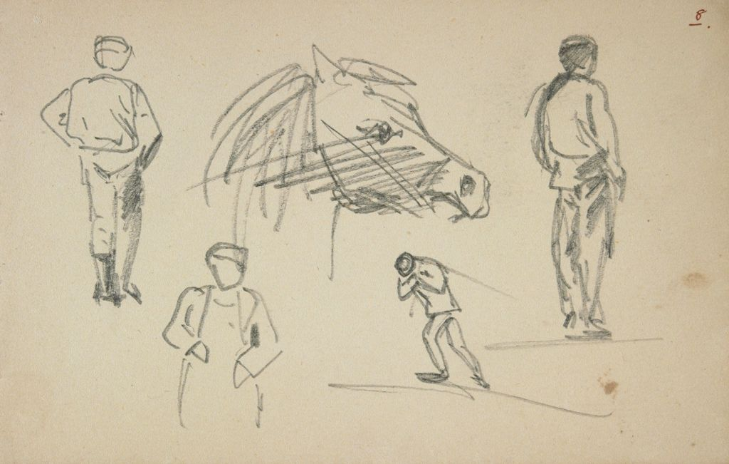 Study Of A Horse's Head And Four Figures; Verso: Partial Sketch Of Horse Grazing