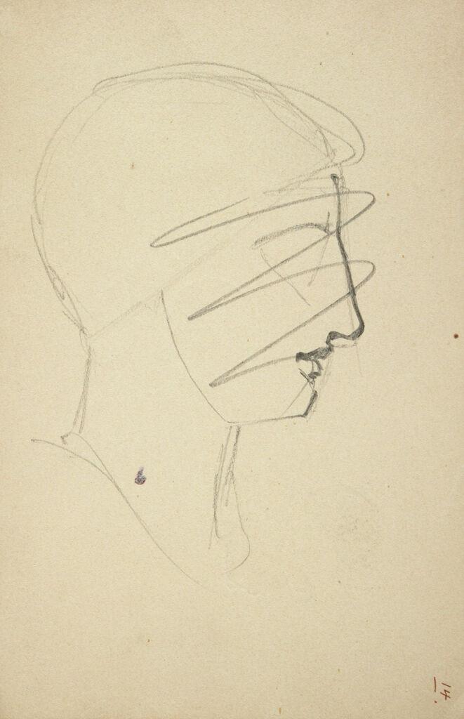 Study Of A Profile Head; Verso: Three Studies Of A Child's Head