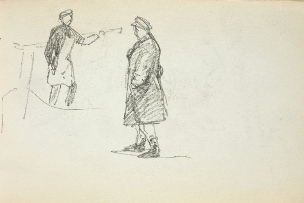 Blank Page; Verso: Study Of Two Figures
