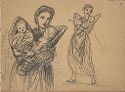 Woman With Two Infants; Verso: Sketch Of A Cow