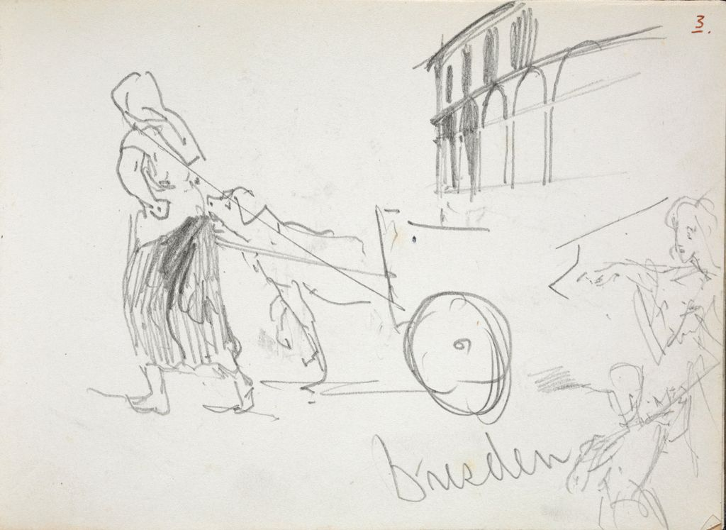 Woman And Animal With Cart; Arcaded Facade; Figure Studies; Verso: Woman With Child; Sketches