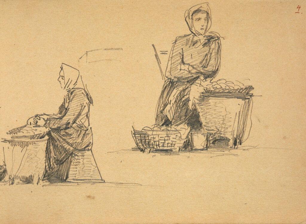 Woman At Market; Verso: Figure Sketches; Diagram