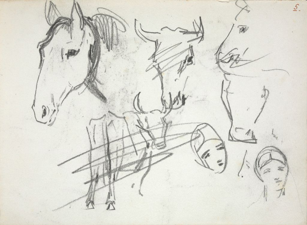 Sketches Of Horses, Cows, And Human Heads