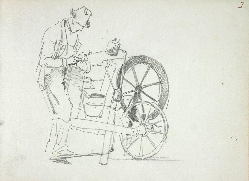 Man With Grinding Machine; Verso: Figure Studies