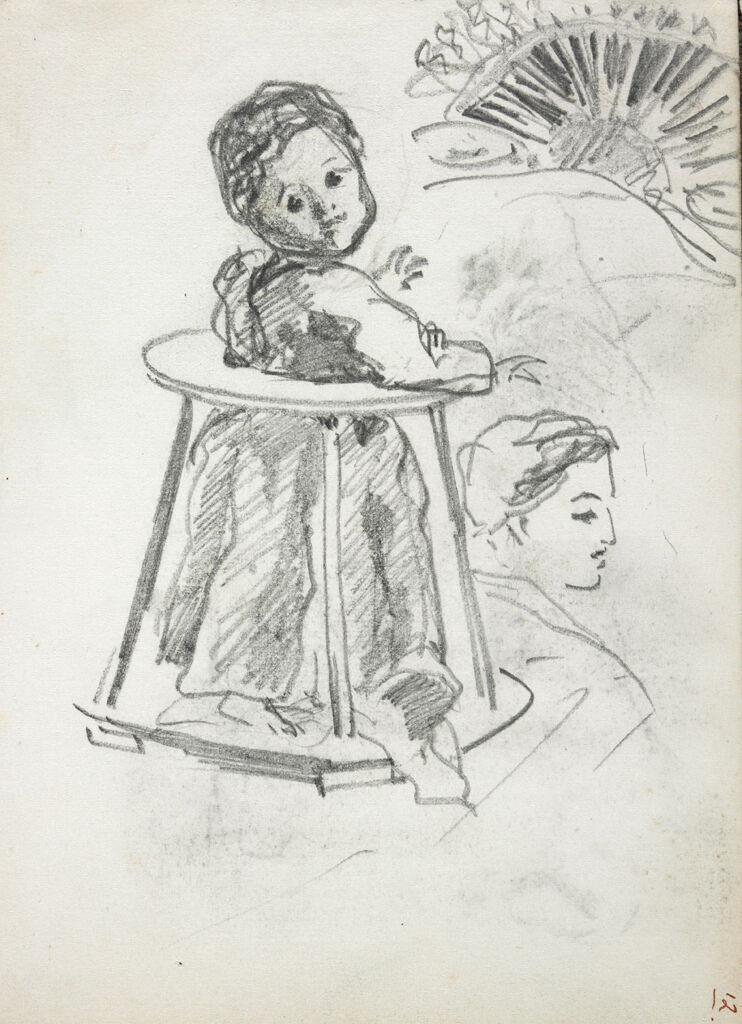 Headdress; Woman's Profile; Baby In A Walker; Verso: Studies Of Sleeping Man