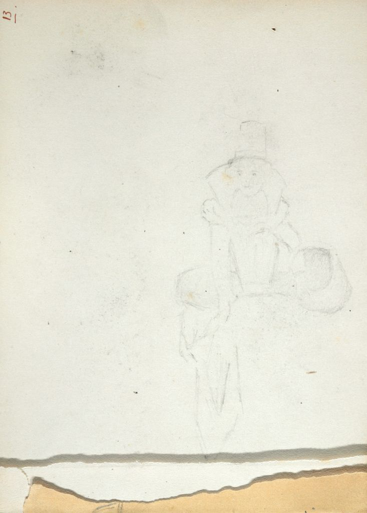 Erased Sketch Of Woman In Costume