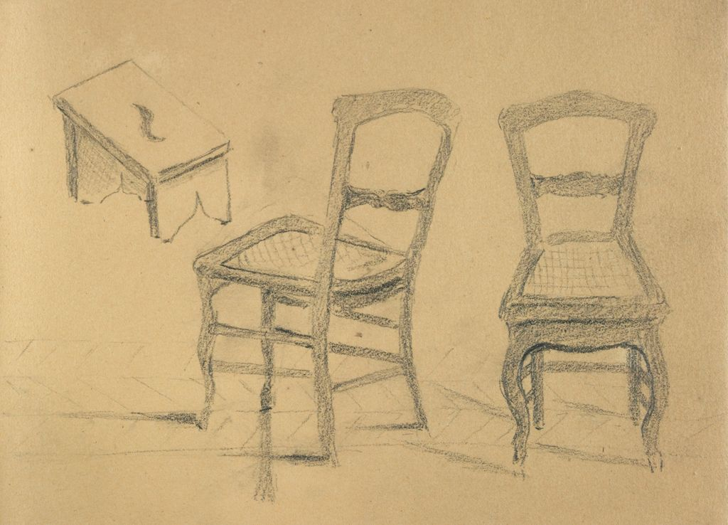Blank Page: Verso: Studies Of A Chair And A Stepstool