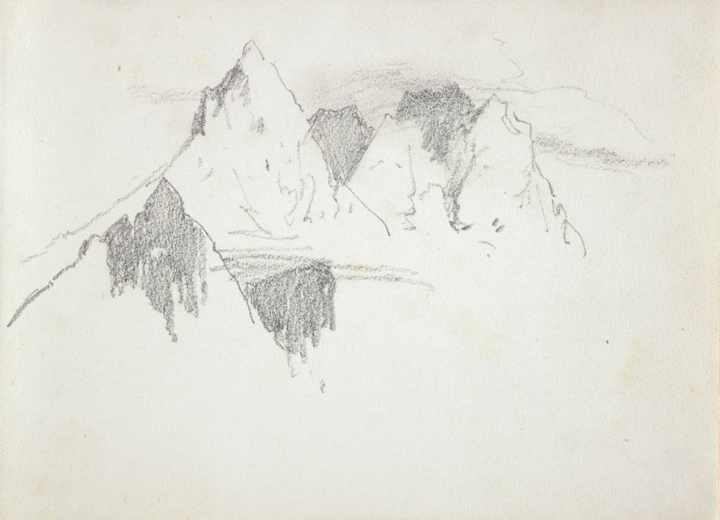 Blank Page; Verso: Mountain Peaks