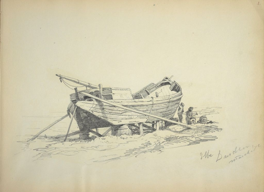 Boat With Figures; Verso: Partial Sketch Of A Woman's Hand