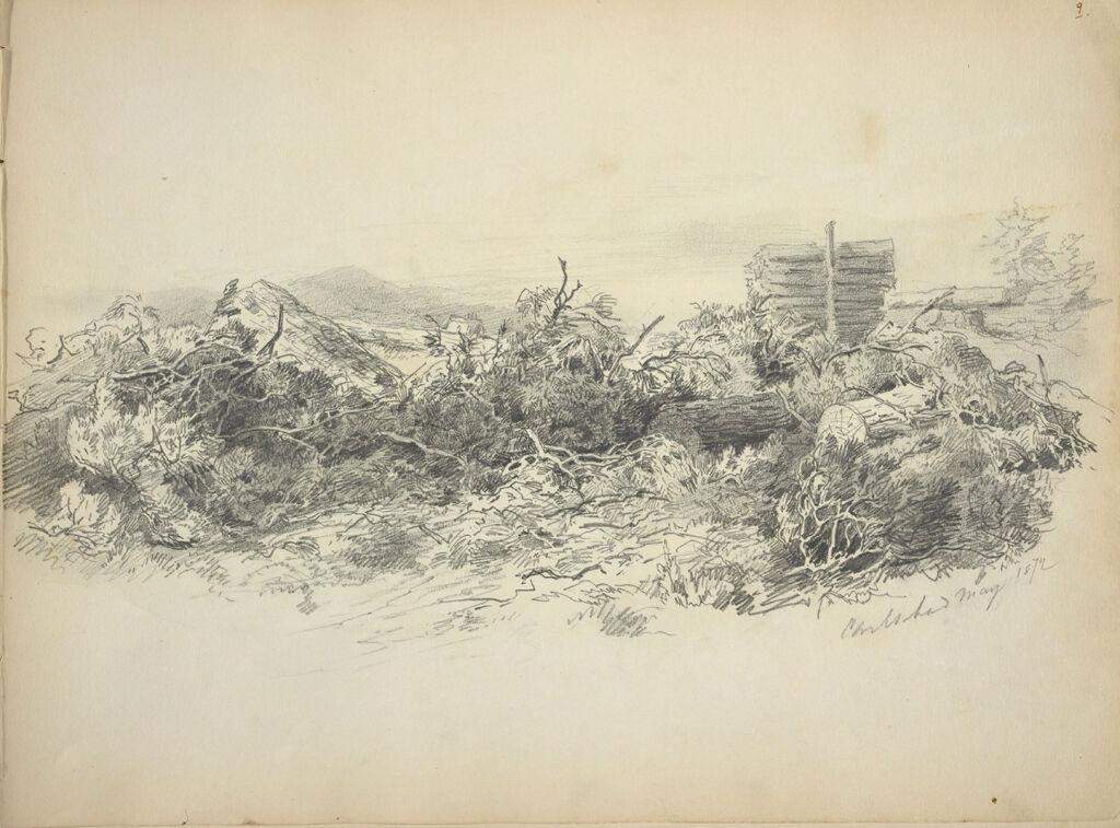 Landscape; Verso: Sketches Of Cows