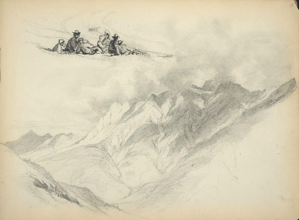 Mountain Landscape; Farm Workers Resting