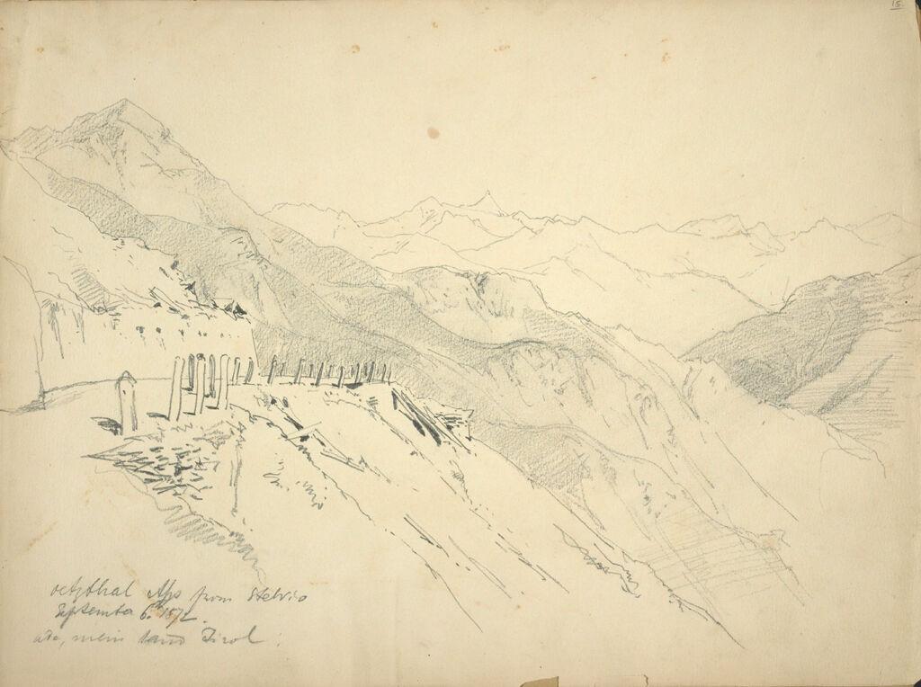 Alpine Landscape; Verso: Two Figural Sketches, After A Sculpture