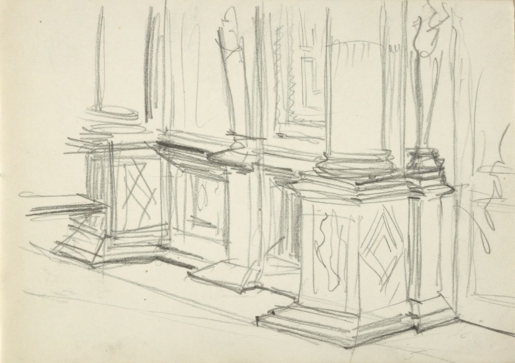 Blank Page; Verso: Perspective Study Of Wall With Detached Columns On Pedestals