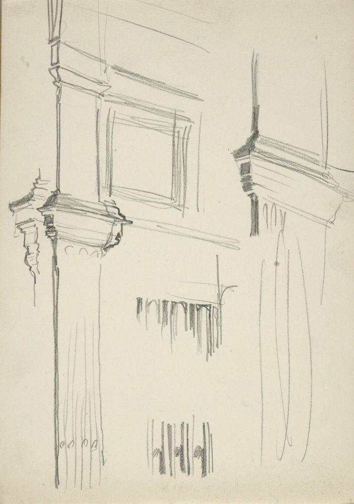 Blank Page; Verso: Perspective Study Of Wall With Engaged Pilasters And Panels