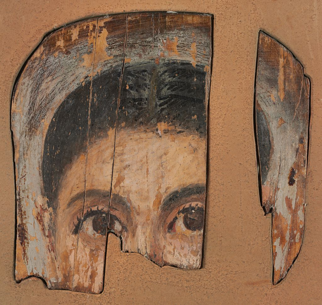 Fragmentary Mummy Portrait Of A Woman