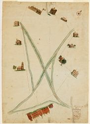 A Plot of Cambridge Common with a view of the Roads & a principal part of the Buildings thereon, ca. 1781 Digital Object