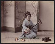 Work 12 of 53 Title: Woman playing shamisen Creator: Attributed to Tamamura, Kihei Date: between 1880 and 1898