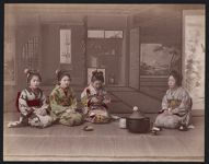 Work 16 of 53 Title: Four women having tea, brazier in front ... Date: ca. 1890