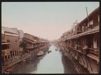 Work 49 of 53 Title: Buildings along canal in Osaka Date: ca. 1890