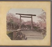 Work 1 of 50 Title: Torii and cherry trees at Iseyama Kodai ... Date: ca. 1890