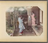 Work 11 of 50 Title: Two Japanese women dressed in kimonos in... Creator: Attributed to Tamamura, Kihei Date: ca. 1895